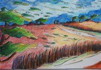 Tempête sur les blés / Crayons aquarelle et encre / 70 x 50
