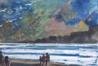 Marine et vagues / Aquarelle / 70 x 50