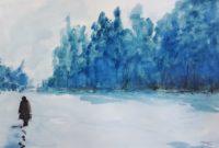 Promenade hivernale / Aquarelle et encre / 70 x 50