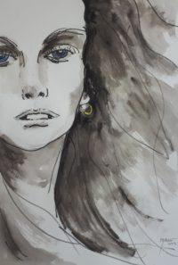 Portrait, cheveux au vent / Encre / 50 x 70