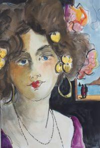 portrait poupon / Aquarelle et encre / 50 x 70