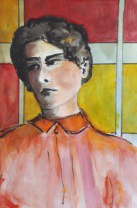 Portrait à la blouse orangée / Aquarelle / 50 x 70