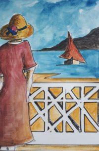 Femme au balcon / Aquarelle / 50 x 70