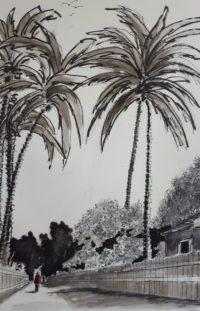 Sous les palmiers / Encre / 50 x 70