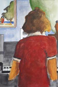 Au piano / Aquarelle et encre / 50 x 70