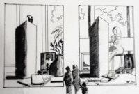 Visite du musée / Encre / 70 x 50