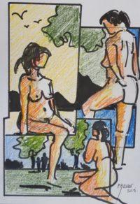 Nus / crayons aquarelle et encre / 30 x 50