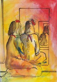 Duo au miroir / Aquarelle / 30 x 50