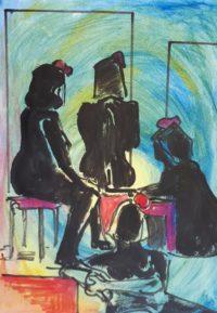 Modèles assis / Encre et aquarelle / 30 x 50