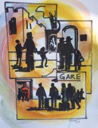 Foules à la gare / Encre et aquarelle / 30 x 50