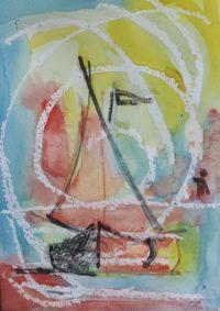 Voilier dans la brume / Aquarelle / 30 x 50